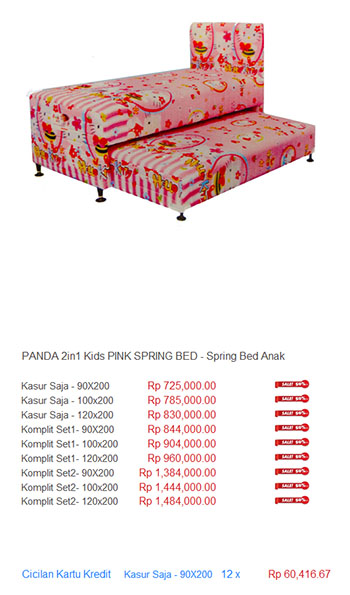 Spring Bed Anak Kasur 2in1 2 in 1 Two In One Ranjang Sorong Kids