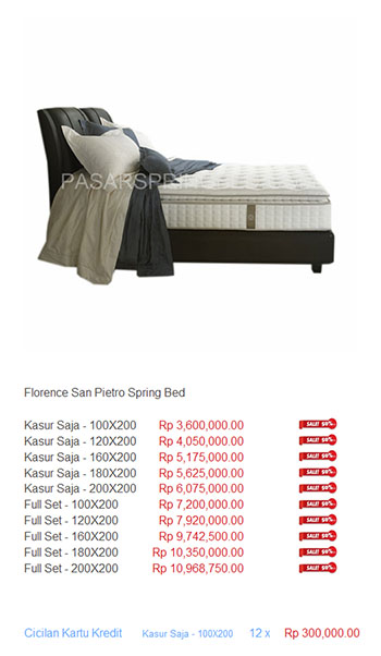 harga florence spring bed12