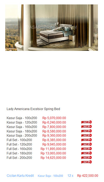 harga lady americana spring bed