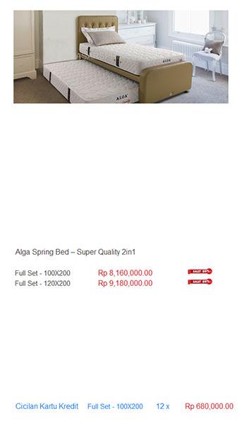 harga alga spring bed
