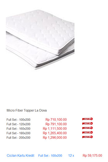 harga spring bed foam topper
