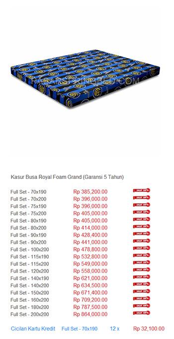 harga spring bed kasur busa royal foam