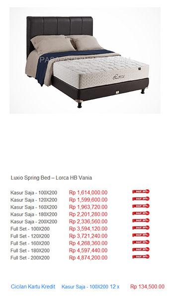 harga luxio spring bed