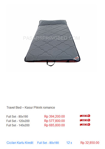 harga spring bed travel bed matras mattress kasur piknik