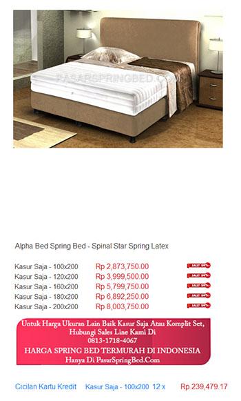 harga alpha bed spring bed