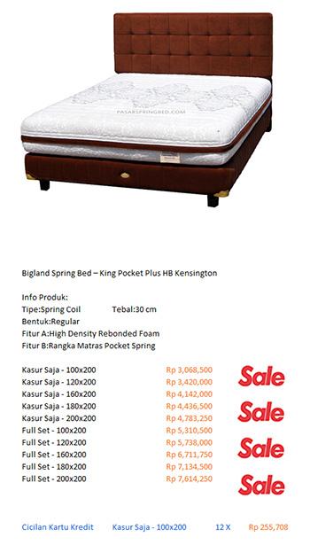 harga bigland spring bed