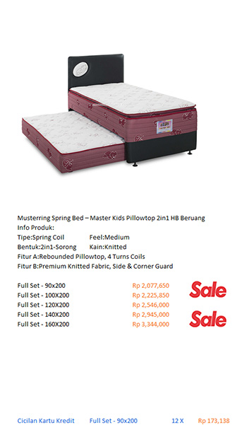 harga musterring spring bed