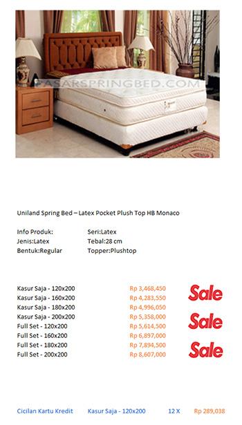 harga uniland spring bed